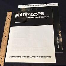 NAD 7225PE Stereo Receiver Original Owners Manual & Information Brochure 7240PE