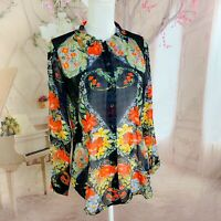Cabi #3072 Amour Black Floral Blouse Long Sleeve Button Down Semi Sheer Small