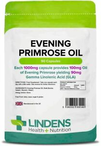 Evening PRIMROSE Oil Capsules 1000mg (90) HIGH Strength Lindens
