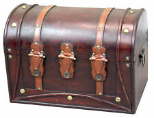 New Decorative Antique Style Wood and Leather Round Top Trunk with Straps