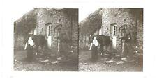 Femme avec cheval et Soldat Ferme Plaque verre stereo Vintage