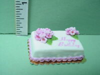 Dollhouse Miniature Birthday Cake - Pink Decoration - 1/12th Scale Handcrafted