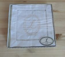 "Mudpie Initially Home L Monogram Linen Coasters 6"" Square"