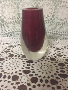 Vintage  Murano Sommerso Style  Cranberry Red Art Glass Vase.