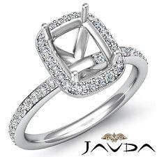 Cushion Cut 1Ct Diamond Engagement Halo Pave Set Ring Semi Mount 18k White Gold