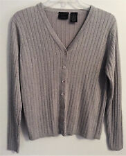 WOMENS LAURA SCOTT GRAY SILVER GLITTER BUTTON FRONT CARDIGAN SWEATER, SIZE M
