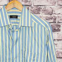 ETON Ganghester Men's Button Front Dress Shirt Blue Yellow Striped Size 16 41cm