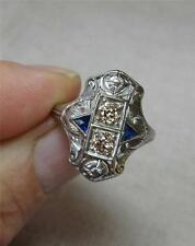 .6ct Art Deco Cognac Diamond Sapphire Engagement Ring Wedding 18K Belle Epoque