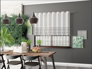 """MODERN WHITE LACE CAFE NET CURTAIN -TWO SIZES (18"""",36"""") - SOLD BY METERS"""