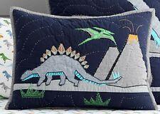 """Pottery Barn Kids Warren Dino Dinosaur Quilted Sham 26"""" x 20"""" Cotton NWT"""