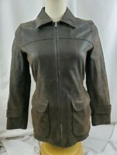 Vintage Lucky Brand Women's Brown Suede Leather Jacket Weathered Fitted Size Sm