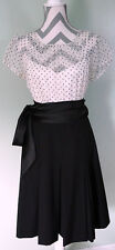 TAHARI White Black Polka Dot Sheer Short Sleeve Sash Belt Career Dress Size 8