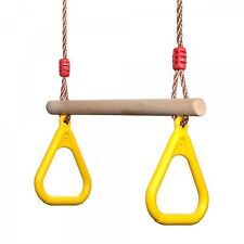 Children's Trapeze Swing Multi-function Wooden Play set With Plastic Gym Rings