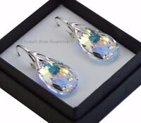 925 Sterling Silver Earrings/Set *CRYSTAL AB* 22mm Pear Crystals from Swarovski®