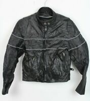 Vtg Unik Lightweight Womens M Black Removeable Lined Leather Motorcycle Jacket