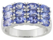 3.00 CTW OVAL BLUE TANZANITE RING SET IN 925 STERLING SILVER SZ 9