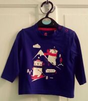 New Boys Navy Blue Christmas Long Sleeve Top Age 0/3 Months