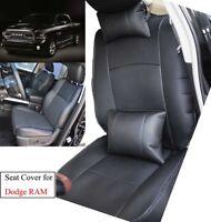 Black Car Seat Cover For Dodge Ram 1500 2500 3500 2013-2017 PU Leather Cushion