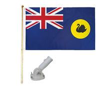New listing 5' Wooden Flag Pole Kit Nylon White Bracket 3x5 Western Australia Polyester Flag