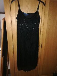 Monsoon Beaded 20's Flapper Style Black Dress Size 12 Fancy Dress 1920's