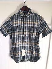RRL Mens Short Sleeve Blue Plaid Button Up shirt Small $175 NWT ralph lauren