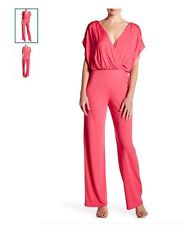 Trina Turk cerise jumpsuit V-neck Short Sleeves size 14 New With Tag