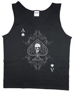 Men's tank top ace of spades skull hipster punk rock biker t-shirt tee