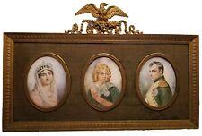 Antique 19c NAPOLEON, NAPOLEON II, & JOSEPHINE Miniature Hand Painted Portraits