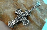"VINTAGE STERLING SILVER 925 ORTHODOX ORNATE ""SUN"" CROSS CRUCIFIX ""SAVE PROTECT"""
