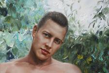 "Fine art nude male original oil painting men Sitting in garden signed 24""x32"""