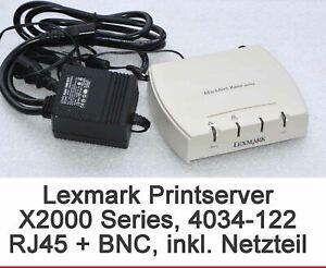 Print Server Lexmark 4034-122 X2012e RJ-45 & BNC For Windows 95 98 XP