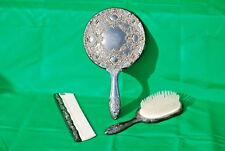 Vintage Silverplated Vanity Set Brush Comb Mirror Hong Kong
