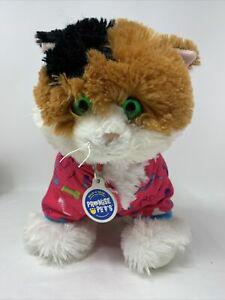 """Build a Bear Promise Pets Calico Cat Plush Stuffed Kitty Pink Hoodie MEOWS 12"""""""