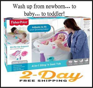 Fisher Price 4-in-1 Sling 'n Seat Baby Infant Newborn Toddler Bath Sink Safe Tub