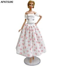 "White Floral Fashion Doll Clothes For 11.5"" Doll Outfits White Top & Midi Skirt"