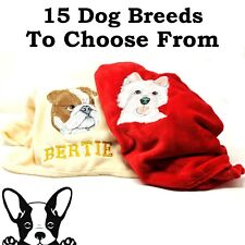 Hand Made Embroidered Personalised Dog Blanket Choice of 8 Colours 15 Breeds