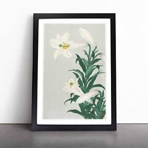 White Lilies Flowers Floral Asian Ohara Koson Framed Picture Print Wall Art