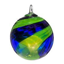 Glass Eye Studio SUNDAY BLUE Hand Blown Art Glass Round Ornament 012L
