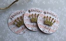 x10 Baby Shower Personalised Gift Tags | princess Crown | Party Supplies | Gifts