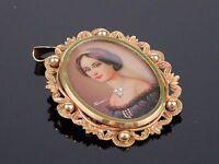 Antique Victorian c1910 Miniature Portrait in 9K Gold Pendant / Brooch, 9.4g