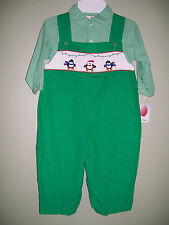 Petit Ami Outfit Boys Green Smocked Christmas Penguin Longalls 2PC Shirt 18M