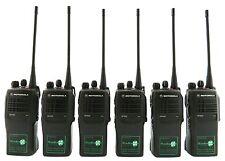 MOTOROLA GP340 UHF 4 WATT TWO WAY WALKIE-TALKIE RADIOS & COVERT EARPIECES x 6