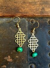 Anthropologie Turquoise Bead Brass Bubble Honeycomb Gold Plated Hook Earrings