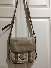 Fossil Maddox Beige Snakeskin Leather Flap Crossbody Messenger Shoulder Bag