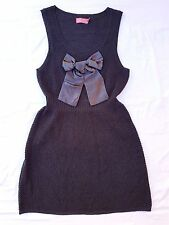 EX CON Wish Size L Sweater Dress Grey Sleeveless Bow Cozy Casual Chic Mini