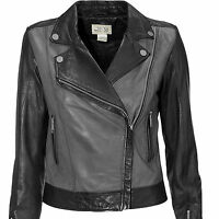 Biker Jacket Uk Plus Size 8 - 12 Ladies Real 100% Leather Coat Black and Grey