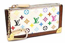 Auth Louis Vuitton Monogram Multicolor Pochette Cles White Coin Case LV A3493