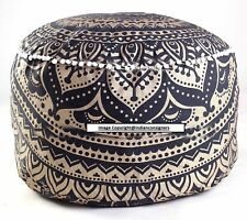 Ottoman Round Seat Cover Handmade Home Decor Ombre Mandala Gold Cotton Pouf