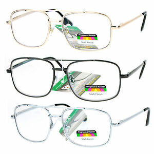 SA106 Rectangular Metal Frame Multi 3 Focus Progressive Reading Glasses