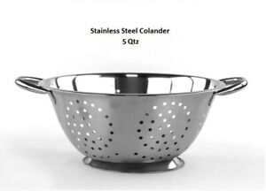 5 Qt High Quality Deep Stainless Steel Colander - Durable Strainer